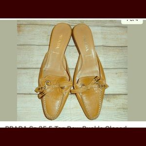 Prada sz 35.5 5.5 tan bow buckle kitten heels